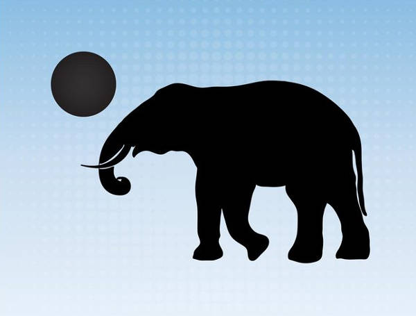 Elephant With ball Silhouette