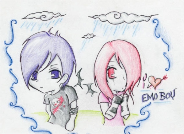 Emo Heart Drawing