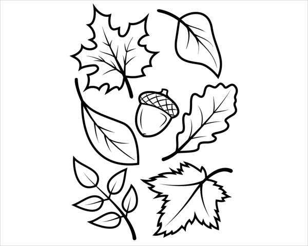 fall leaves preschool coloring page