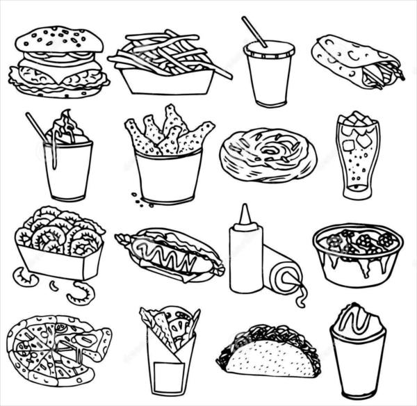 Fast food menu icons