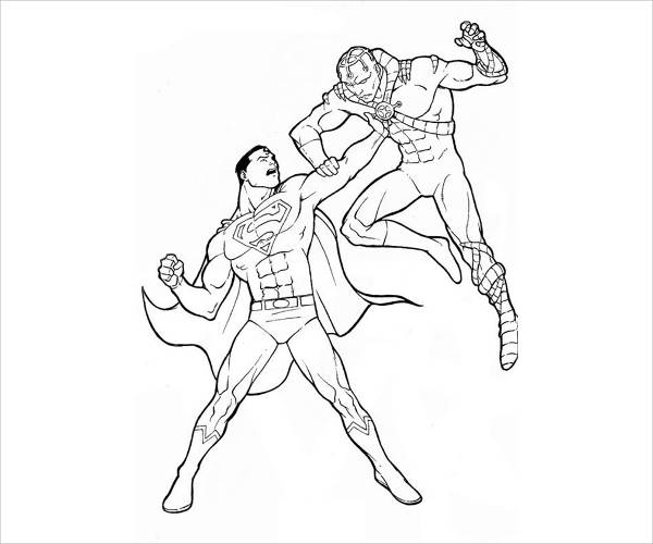 Fighting Superman Coloring Page