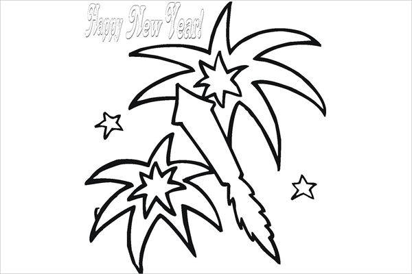 Fireworks Black and White Clipart