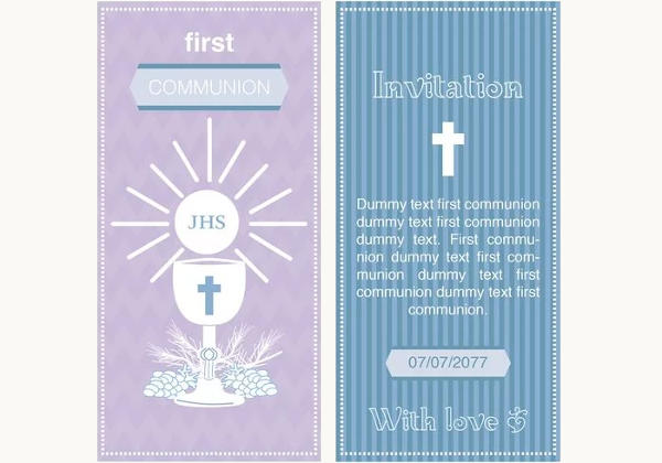 First Communion Invitation Vector