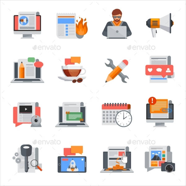 Flat Blog Icon Designs