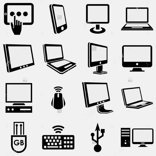 Flat Computer Icons on Gray