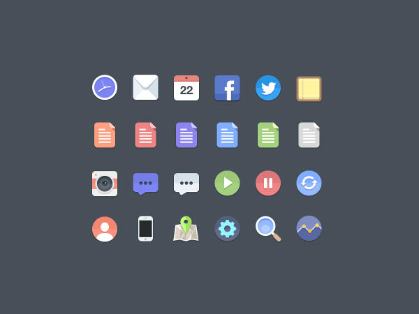 Flat iPhone Icons