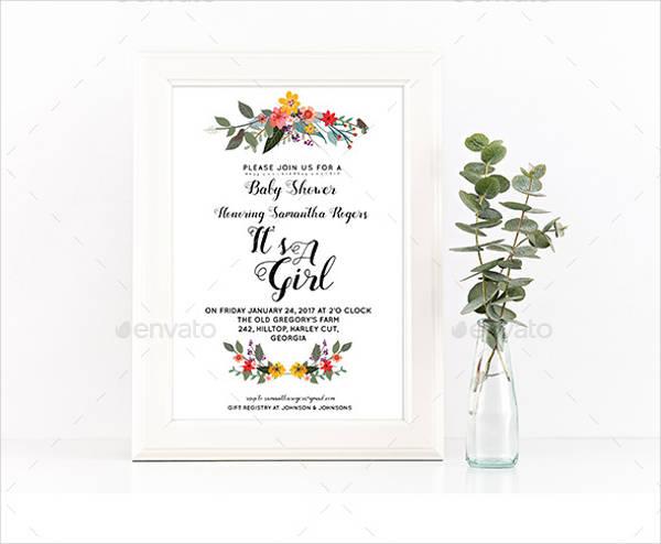 Floral Girl Baby Shower Invitation