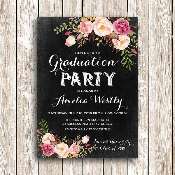 Floral Graduation Invitation Design