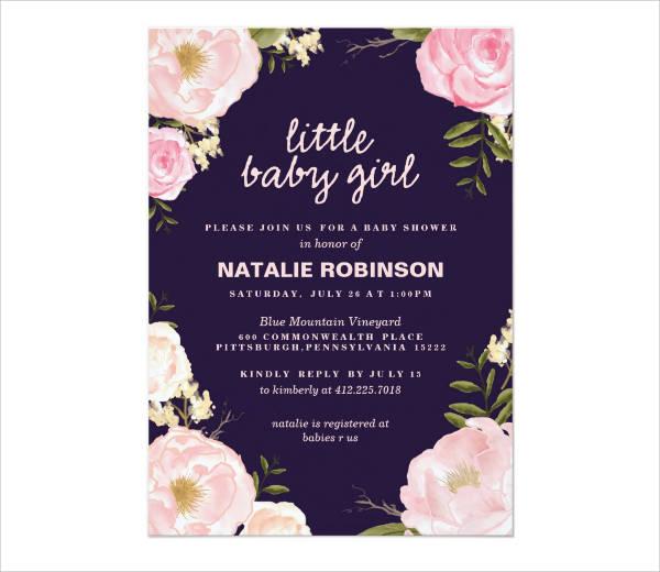 Flower Girl Baby Shower Invitation