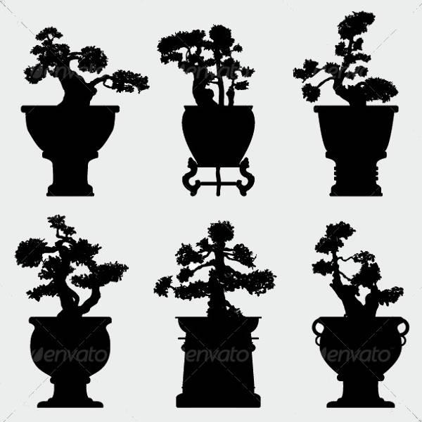 Flower Plant Silhouettes
