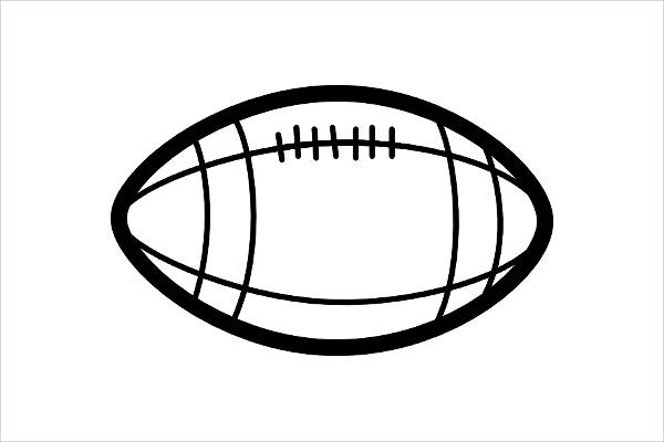 Football Black and White Clipart