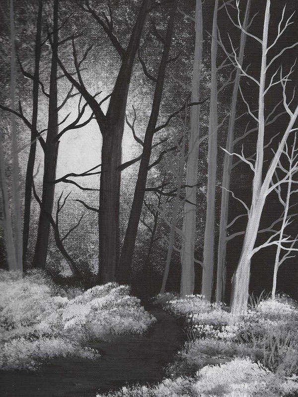 Forest Black and White Painting