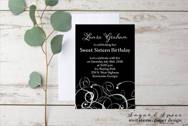 Formal Sweet Sixteen Invitation Design