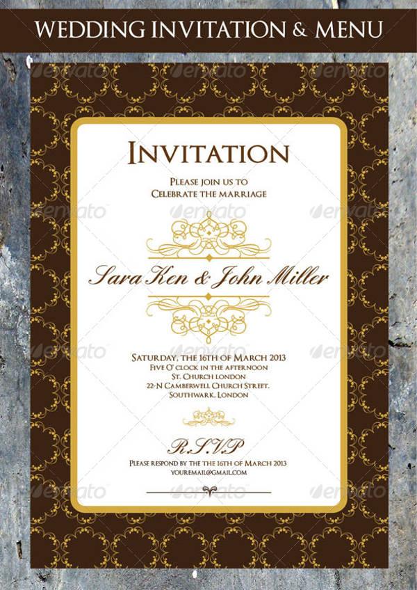 Formal Wedding Menu Invitation