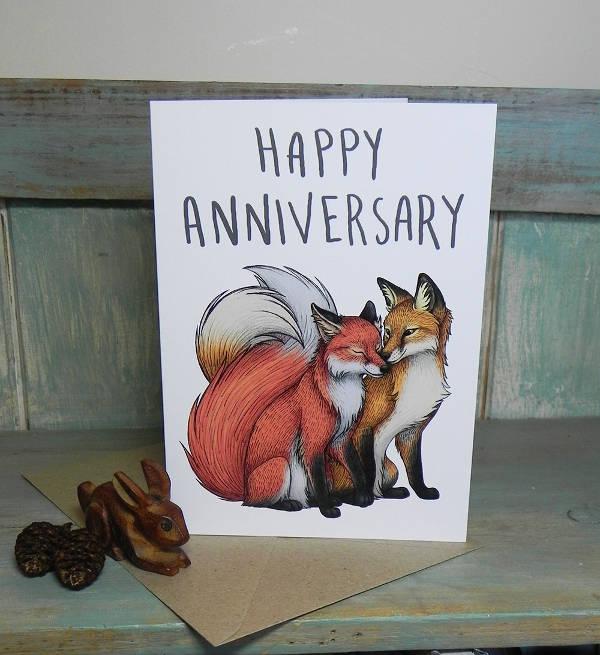 Fox Couple Anniversary Greeting Card