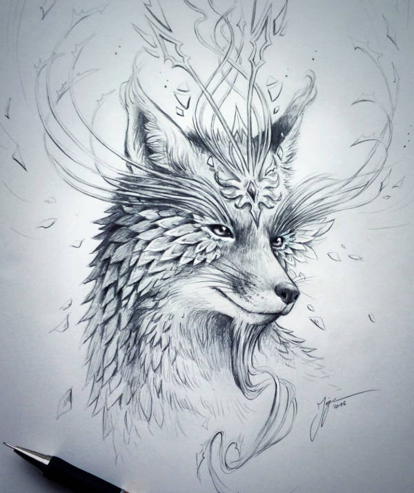 Fox Pencil Drawing