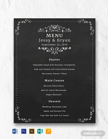 free chalkboard wedding menu template1