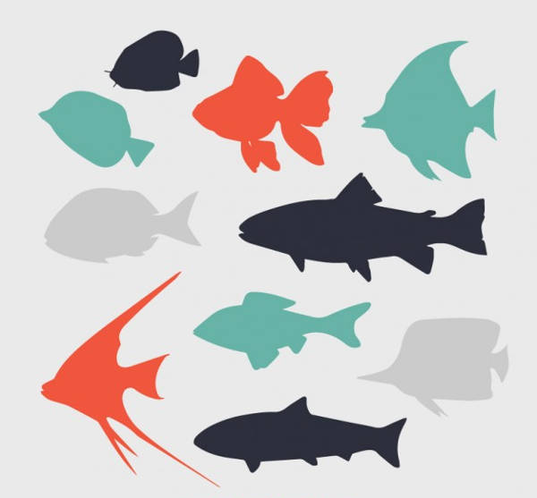 free flat fish silhouettes