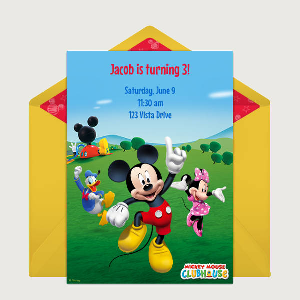 Free Printable Mickey Mouse Birthday Party Invitation