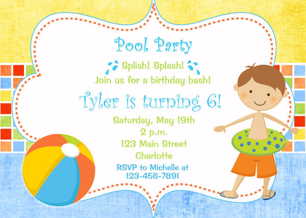9 Birthday Party Invitations – Free Printable Pool Party Invitations