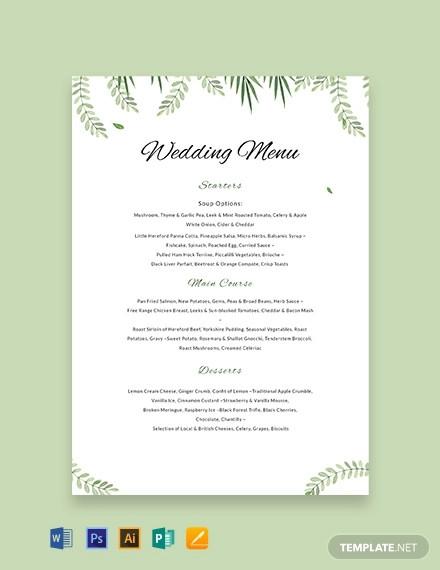 free sample wedding menu template