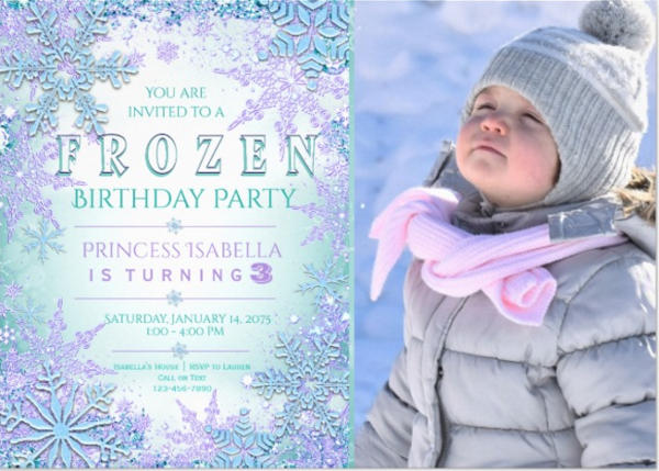 Frozen Photo Birthday Invitation