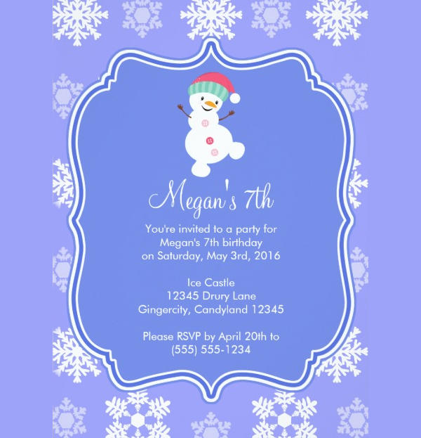 Frozen Snowflake Birthday Invitation