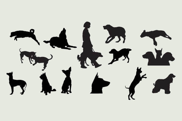 fully customized dog silhouettes