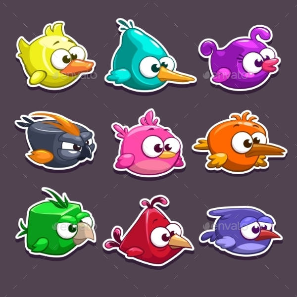 Funny Cartoon Bird Stickers
