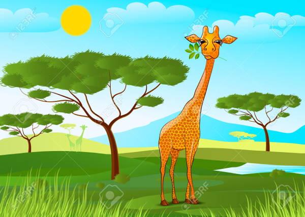 giraffe eating clipart