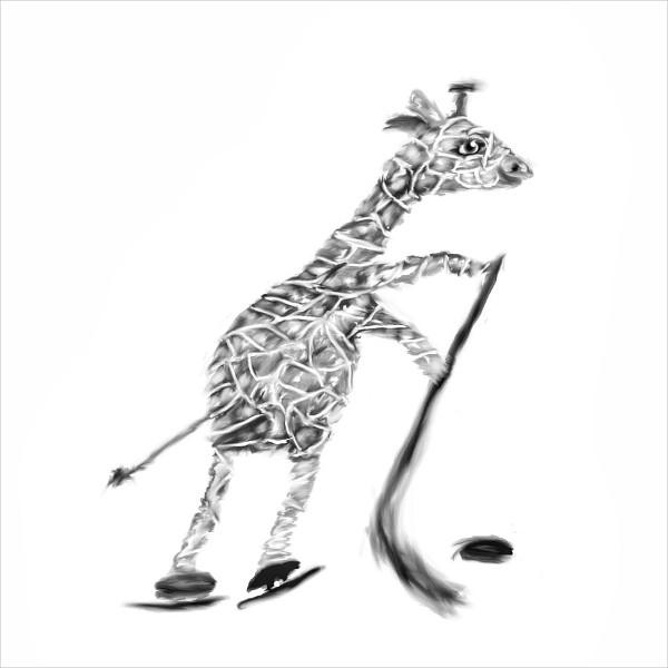 Giraffe Playing IceHockey Drawing