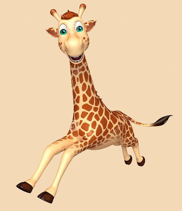 giraffe running clipart