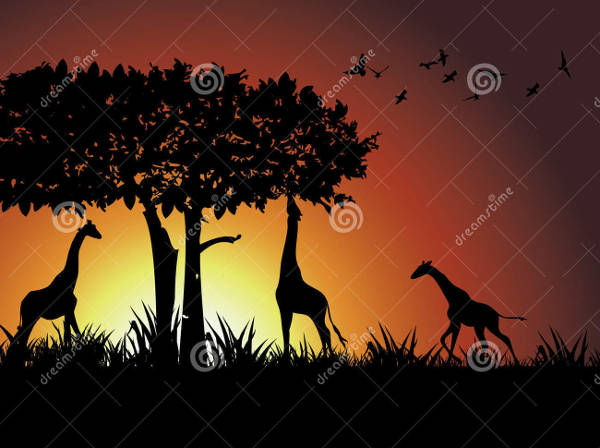 Giraffe and Tree Silhouette