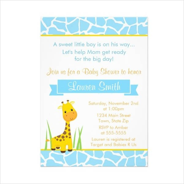 Giraffee Boy Baby Shower Invitation