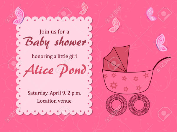 Girl Baby Shower Butterfly Invitation