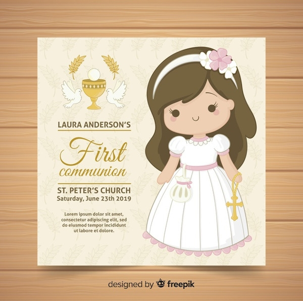 Girl First Communion Invitation InDesign