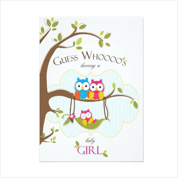 Girl Owl Baby Shower Invitation