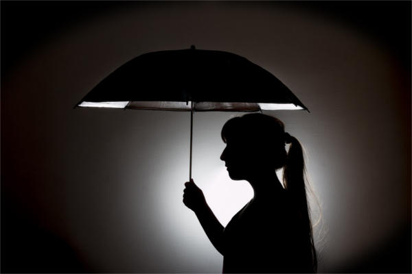 Girl with Umbrella Silhouette