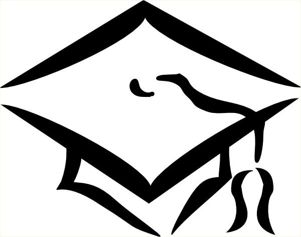 Graduation Cap Outline Clip Art