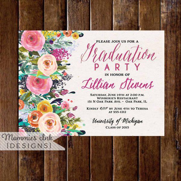 Graduation Watercolor Invitation