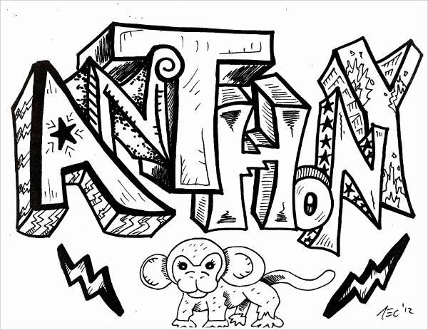 Graffiti Drawing of Words
