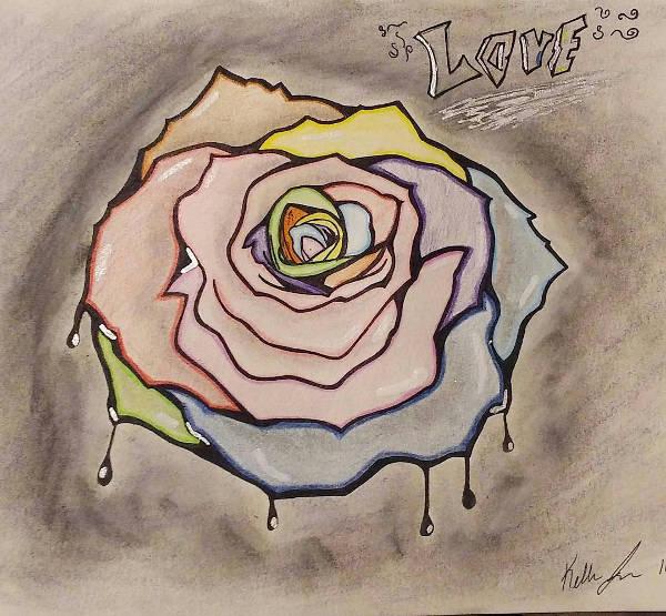 Graffiti Rose Drawing