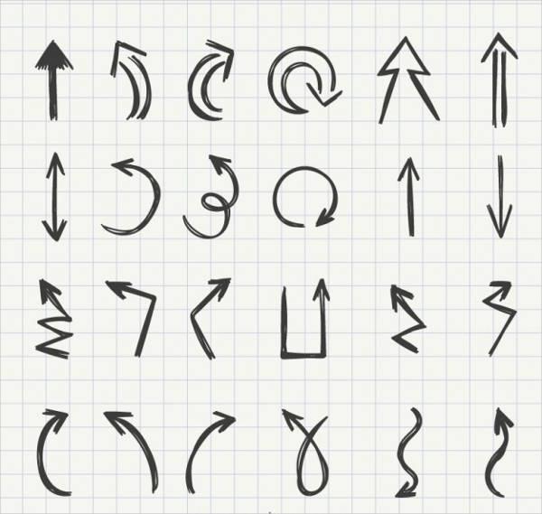 hand drawn arrow vector