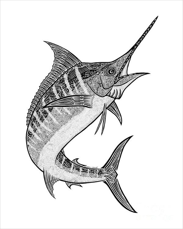 Hand-Drawn Fish Drawing