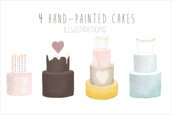 Hand Painted Birthday Cake Clip Art