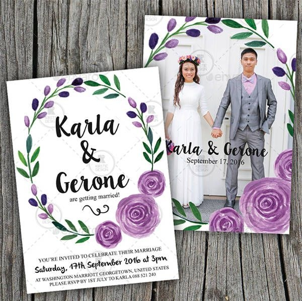 Hand Painted Watercolor Wedding Invitation