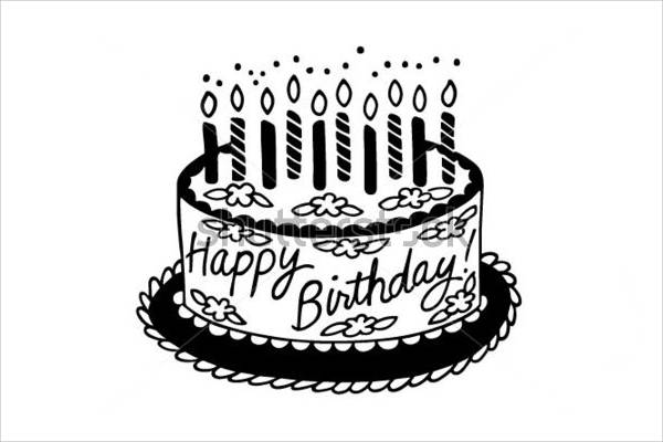Happy Birthday Black and White Clip Art
