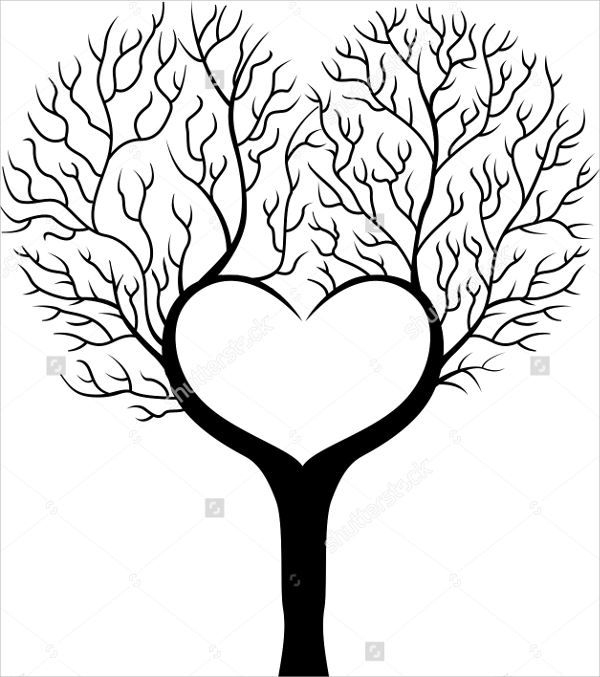 Heart Tree Silhouette