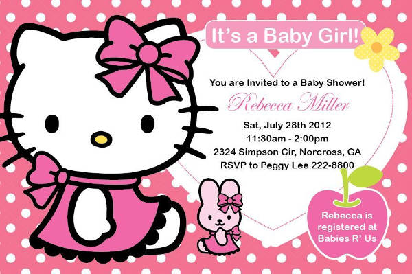 Hello Kitty Baby Shower Invitation