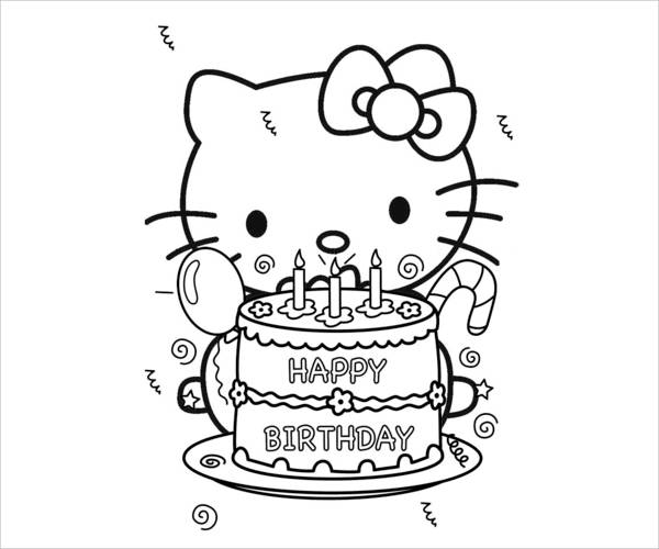 Hello Kitty Birthday Coloring Page